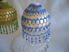 Hand Stitched Blue and Silver Crystal Beaded by AcadianGlassArt