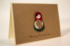 Items similar to Unique handmade Christmas card/ Russian Doll, Matryoshka with a gingerbread man and rhinestone, / paper cut/ Kraft paper on Etsy 3d Paper, Kraft Paper, Etsy Cards, Handmade Cards, Handmade Gifts, Gingerbread Man, Handmade Christmas, Paper Cutting, Christmas Cards