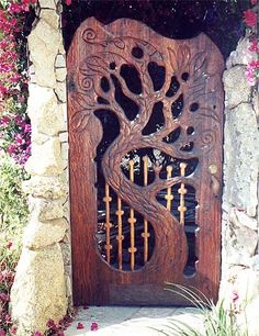 beautiful carved wood garden gate