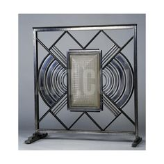 Art Deco Fire Guard, Metal, Glass and Cathedral Glass, France, Circa 1930 Giclee Print at Art.co.uk