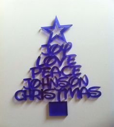 Christmas Tree Decoration / Personalised Bauble - Joy Love Peace