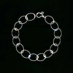 Open Oval Bracelet Sterling Silver Wirework Bracelet Hammered Chain Link Ovals Wire Jewelry 25th Birthday Gift Chain Silver Oval Bracelet