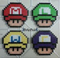 Super Mario Capped Mushrooms by PerlerPixie