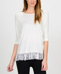 Look what I found on #zulily! White Lace-Trim Three-Quarter Sleeve Top #zulilyfinds $14.99