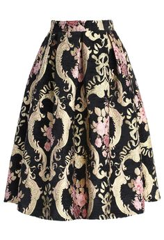 Rococo Roses Intarsia Midi Skirt - Retro, Indie and Unique Fashion