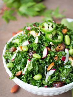 Autumn kale salad is a delicious crunchy salad with radishes, dates, edamame beans and toasted almonds with a zippy Citrus ginger jalapeño maple dressing. Detox Salad, Kale Salad, Vegan Gluten Free, Vegan Vegetarian, Edamame Beans, Keto Recipes, Healthy Recipes, Healthy Salads, Veggies