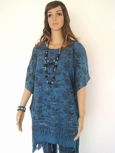 Regular Size 1X 2X 3X Turquoise Flower Bali Batik Top Tunic Kaftan Caftan  Poncho Dress Blouse Loungewear Summer Cover Up Beach Pregnant e76434075e