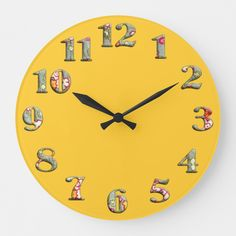 Shop Bright yellow round clock with big cute numbers 08 created by YANKAdesigns. Personalize it with photos & text or purchase as is! Yellow Theme, Yellow Art, Yellow Walls, Mellow Yellow, Bright Yellow, Yellow Desk, Yellow Roses, Color Yellow, Bedroom Wall Collage
