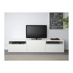 BESTÅ TV unit, Lappviken white Lappviken white drawer runner, push-open 180x40x38 cm