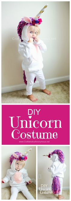 Unicorn Costume Tutorial Unicorn Costume DIY Tutorial :: Such a cute handmade Halloween costume idea for kids!Unicorn Costume DIY Tutorial :: Such a cute handmade Halloween costume idea for kids! Handmade Halloween Costumes, Cute Costumes, Baby Costumes, Halloween Kids, Halloween Crafts, Halloween Party, Costume Ideas, Vintage Halloween, Homemade Halloween