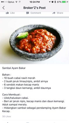 Sambel Ayam Bakar Sambal Sauce, Sambal Recipe, Malay Food, Easy To Cook Meals, Spicy Dishes, Indonesian Cuisine, Malaysian Food, My Best Recipe, Fabulous Foods