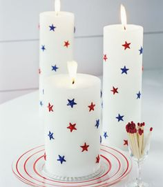 Fourth of July Red, White, and Blue Decorations - Patriotic Decorations I could make these at home with dollar store candles, star confetti & glue, or if i could find patriotic stickers it be even better. Fourth Of July Decor, 4th Of July Party, July 4th, Memorial Day Decorations, 4th Of July Decorations, Parties Decorations, Candle Decorations, Centerpiece Ideas, Birthday Decorations