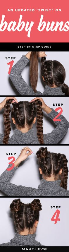 We're giving the baby bun hairstyle a twist with this easy DIY hair tutorial. In this hair tutorial, we break down the step-by-step process so you can create the braided baby buns hairstyle at home. Baby Buns, Medium Hair Styles, Natural Hair Styles, Short Hair Styles, Hair Medium, Hair Styles With Buns, Hair Styles Steps, Cute Hair Styles Easy, Hair Styles Long Layers