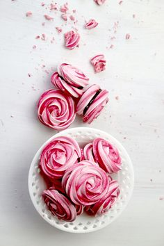 Rose Meringue Cookies @  http://www.thescranline.com/#!rose-meringue-cookies/c17r1