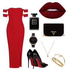 """""""So red"""" by tdeboer on Polyvore featuring mode, Christian Louboutin, Prada, Gucci, Cartier, Olivia Burton en Lime Crime"""