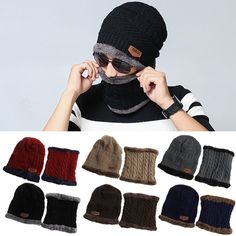 0b0a7bab128 Men Women CampingHat Beanie Baggy Warm Winter Wool Fleece SkiCap + Nec ker  chief Scarf collar Multi piece sets-in Scarf