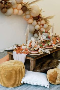 Take a look at the impressive rustic boho table settings at this boho Friendship Thanksgiving party. See more party ideas and share yours at CatchMyParty.com #catchmyparty #partyideas #4favoritepartiesoftheweek #thanksgiving #friendsgiving ##tabkesettings #bohoparty