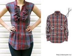 Creative Ideas to Repurpose Old Shirts into New Fashion - Men Shirt into Women Top Diy Clothing, Sewing Clothes, Sewing Shirts, Diy Fashion, Ideias Fashion, Fashion Men, Latest Fashion, Fashion Tips, Fashion Trends