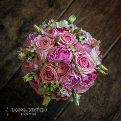 bukiet ślubny piwonia róża eustoma różowy pastelowy