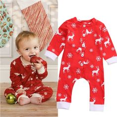 Christmas Clothes Winter Newborn Baby Boys Girls Santa Claus Rompers