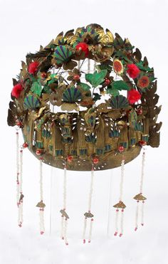 China | Wedding headdress; pressed, painted and cut thin sheets of golden coloured tin into an elaborate headdress with hanging glass beads, and small silk pom poms | ca. early 20th century | 180£ ~ sold (Apr '09)