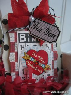 This lovely Valentine is created with Vintage Street Market Meghan Kay, Marshall Matthew cardstock, Twirly Twine and Tags, Bingo Craft Card and authentic vintage Valentine seal