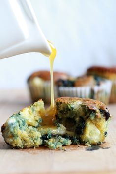 roasted blueberry and brie cornbread muffins with honey butter