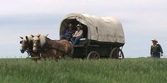 Covered wagon trail through North Dakota, just like the early settlers.