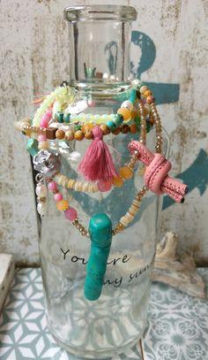 Armbänder - Verspielte Armband - Kette ☮ rosa türkis natur - ein Designerstück von charm_one bei DaWanda