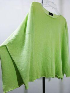 Eskandar sweater lagenlook top artsy art to wear green Linen imperial boxy OS #Eskandar #BoatNeck