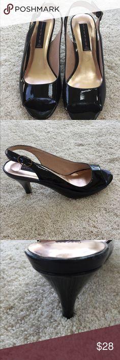 STEVE MADDEN BLACK HEELS Steven by Steve Madden black peep toe, sling back, patent leather heels. 3in heel height. Gently used condition! Steven By Steve Madden Shoes Heels