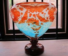 FRENCH CAMEO GLASS VASE, LE VERRE, BUTTERFLIES, C1920'S