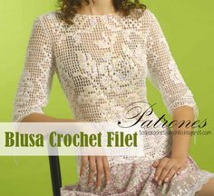 Patrones de Blusa en Crochet Filet