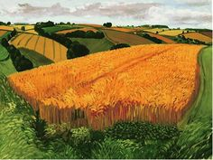 "This week's work of art is by contemporary British artist David Hockney. It was painted in August of 2005 and is known as Wheat Field Near Fridaythorpe. It was part of a series of paintings Hockney did entitled ""A Year in Yorkshire."" For more about David Hockney, Wikipedia is a good place to start, and …"