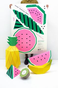 25 Paper Goods for a fruit-themed summer party! Includes these fabulous 3D models. #papercraft #papersculpture #craft #partydecor