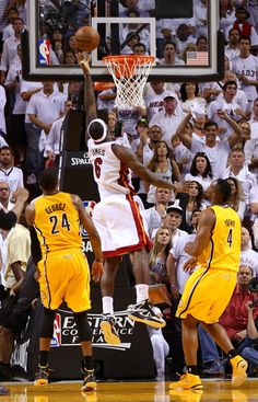 LeBron James drives and makes the game winning basket in overtime against the Indiana Pacers during Game One of the 2013 Eastern Conference Finals