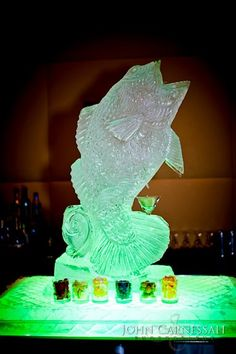 Turning Stone Ice Sculpture - Wide Mouth Bass Martini Luge with Green Lighting