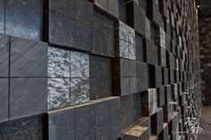 "A wall made with Slate-Lite, the paperthin real stone veneer.  Used decor: ""ARGENTO & D.BLACK & NEGRO""."