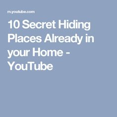 10 Secret Hiding Places Already in your Home - YouTube