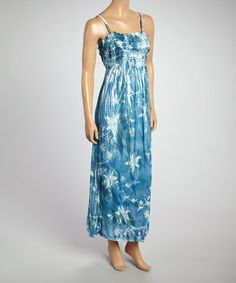 83719c8a77 Another great find on  zulily! Steel Blue Floral Smocked Maxi Dress by  Shabri Fashions