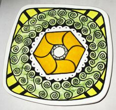 Platter with Orange Hexagon by elbrozzie on Etsy, $125.00
