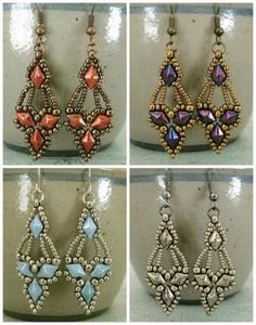 Free beading pattern arabella earrings from linda s crafty inspirations featured in bead patterns com newsletter Beaded Earrings Patterns, Beading Patterns Free, Weaving Patterns, Mosaic Patterns, Knitting Patterns, Bracelet Patterns, Crochet Patterns, Free Beading Tutorials, Seed Bead Patterns