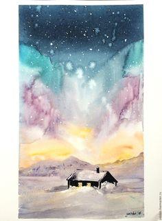 """Купить """"Северное сияние"""" акварель - комбинированный, северное сияние, космос, небо, ночь, полярная ночь"""