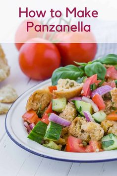 Simply delicious traditional panzanella salad is a summer treat with loads of red ripe tomatoes, chunks of crusty bread, and fresh green basil, dressed in a white wine vinaigrette. Summer Salad Recipes, Healthy Salad Recipes, Summer Salads, Lunch Recipes, Cooking Recipes, Panzanella Salad Recipe, Tomato Bruschetta, Bread Salad, Fresh Mozzarella