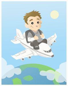 James on a plane