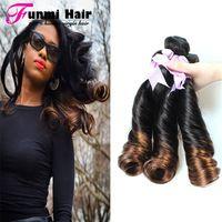 Ombre 1Bundle 7A Top Quality Aunty Funmi Hair 1B#4# Brazilian Bouncy Spring Curl Double Drawn Funmi Virgin Hair Fast Shipping