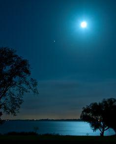 Harvest Moon Over Lake Ray Hubbard, TX by yogiRon, via Flickr