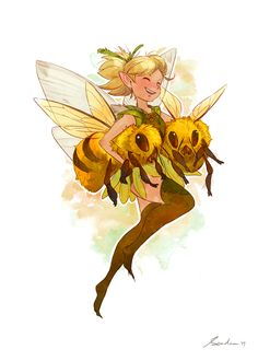 Fairy with two bees Mini Art Print by sandara - Without Stand - x Fantasy Character Design, Character Design Inspiration, Character Art, Fairy Drawings, Cool Drawings, Arte Com Grey's Anatomy, Illustration Art, Illustrations, Bee Art