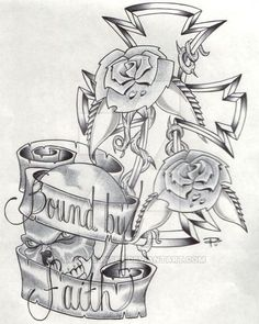 Bound By Faith by smokysunset on DeviantArt Mom Tattoo Designs, Cross Tattoo Designs, Tattoo Design Drawings, Art Drawings, Random Drawings, Adult Coloring Book Pages, Cute Coloring Pages, Unique Half Sleeve Tattoos, Rose Drawing Tattoo