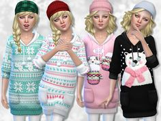 -Winter sweater in 4 versions.  Found in TSR Category 'sims 4 Female Child Everyday'